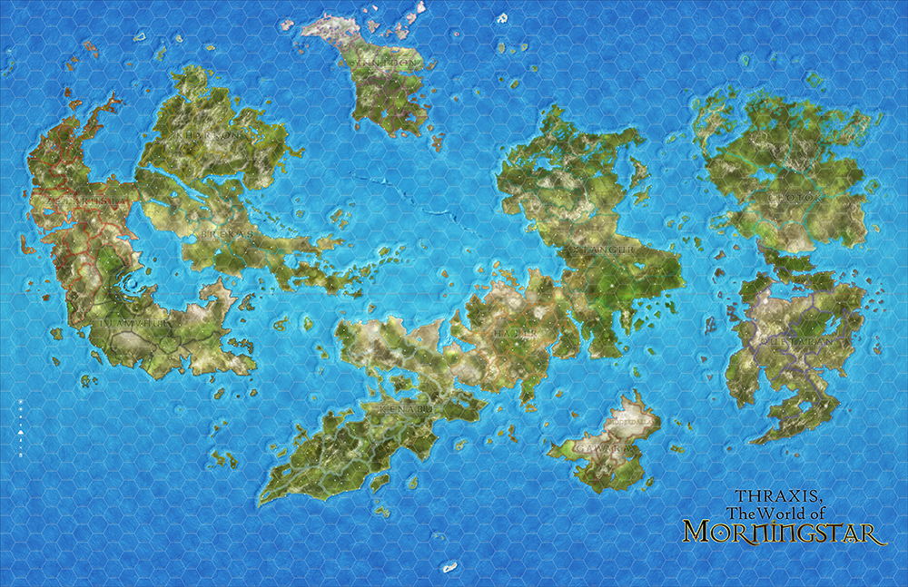 The current world map, in progress.