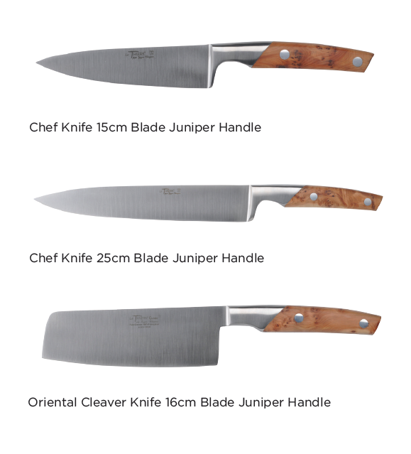 Here is an example of forged - Goyon-Chazeau chef knives, made in Thiers, France. Owner, Denis GOYON has always avoided mass production and advocated up-market and hand-crafted production. This makes each knife he creates almost unique.