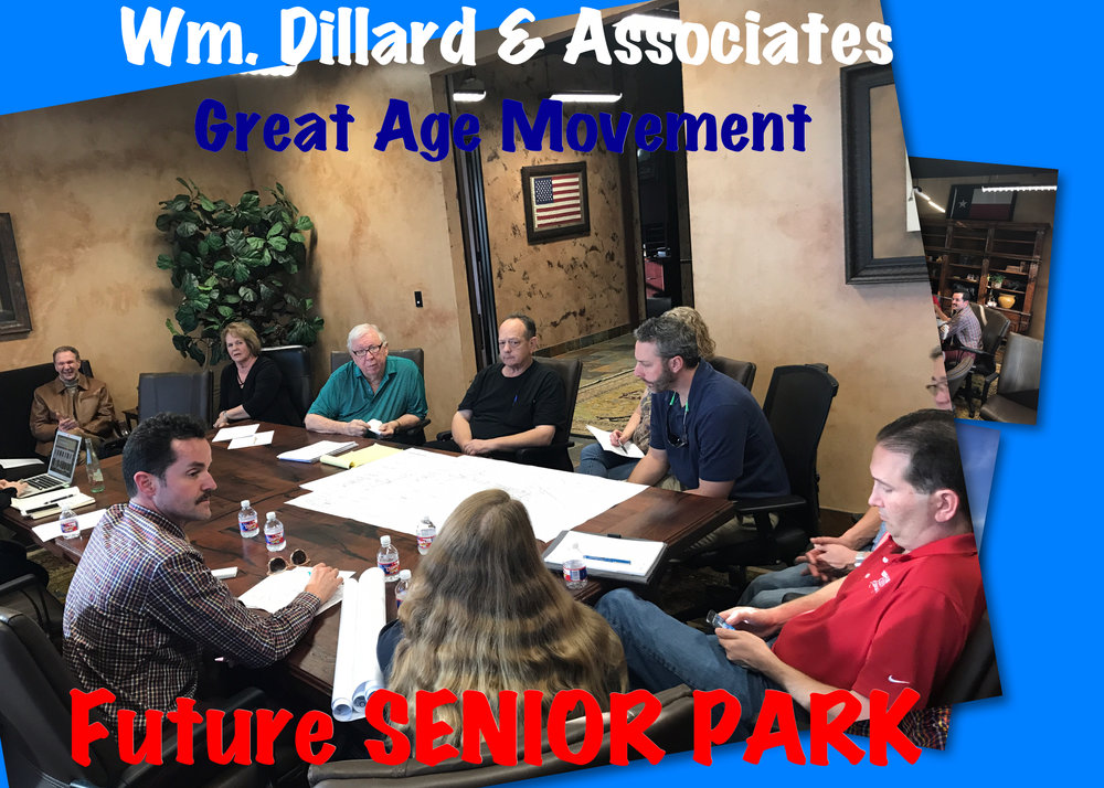 Partnership meeting with W.M. Dillard & Associates LP in City of Jersey Village. The Dillard's agreed to donate 2.3 acres of land for the development of first senior wellness park. Upon completion, park will be donated to City of Jersey Village as an addition to their park system. Board of Directors agreed to fund senior playground & fundraise for art-mediation garden at future senior park - February 2018.