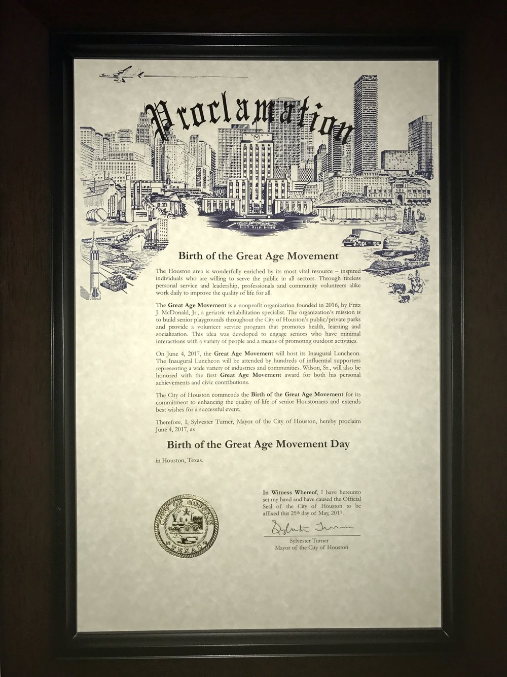 Great Age Movement Day  - City of Houston Proclamation June 4, 2017.