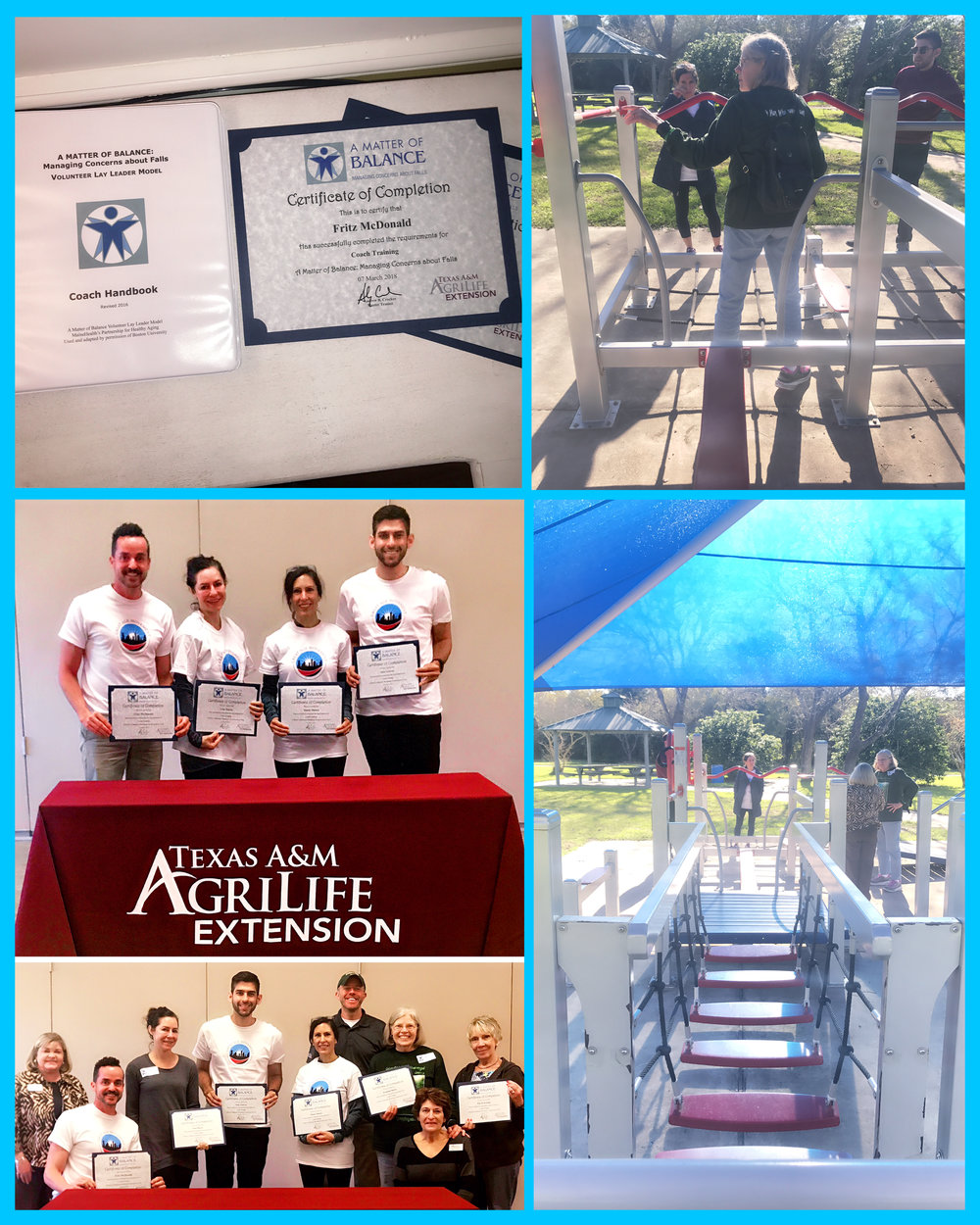 G.A.M. Volunteers  trained in March of 2018 to be coaches for Matter of Balance program through Texas A&M Agrilife Extension Services. Next step is to teach seniors. Once a senior completes the program he/she will be offered an opportunity to be a part of our pilot exercise program at Carbide Park's senior playground.
