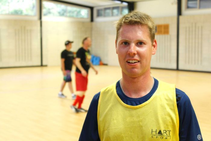 Mr Foreman says futsal helps him with his balance, which is affected by living with cerebral palsy ABC Northern Tasmania Fred Hooper.jpg
