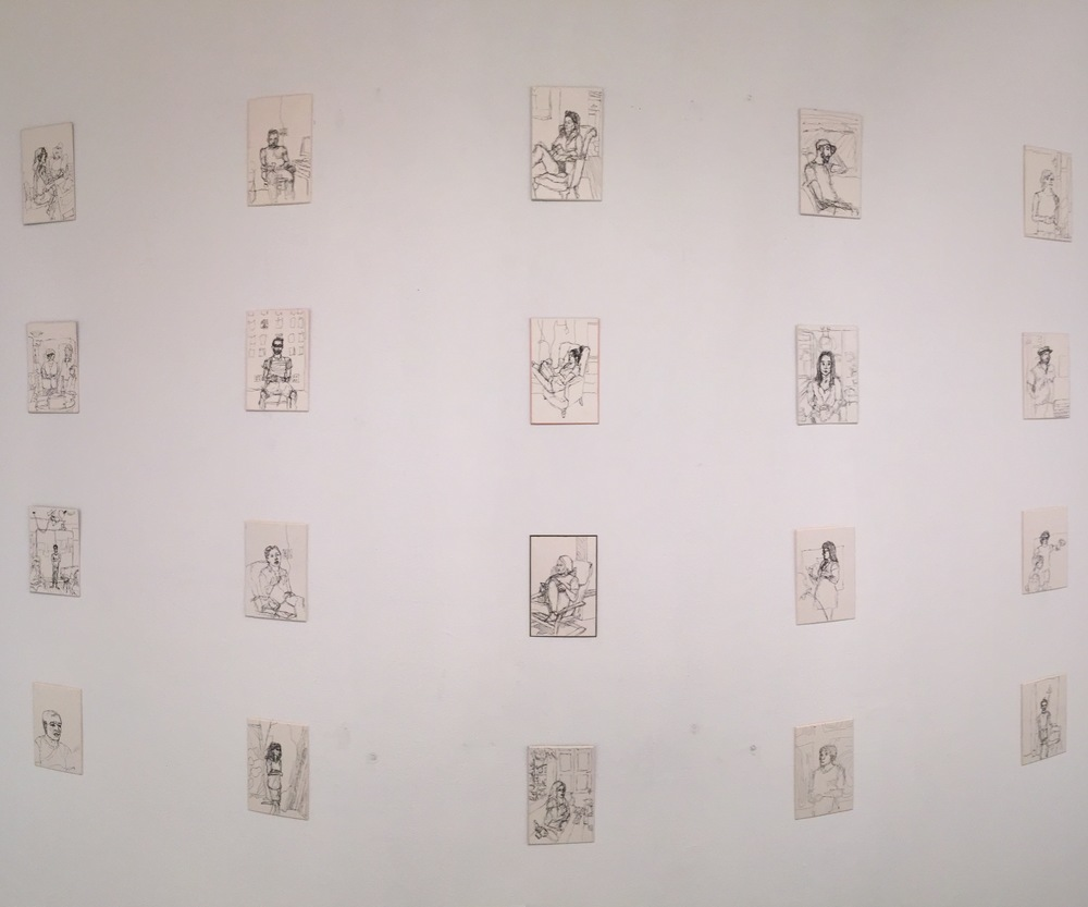 Sketches of all of the artists that we did studio visits with.