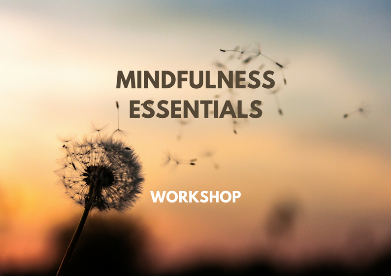 Mindfulness Essentials - Experiential 4 hour workshop that includes extensive practice in various mindfulness techniques, theory and discussion about stress and how to better manage it, as well as tips on how to incorporate this healing practice in our everyday life.
