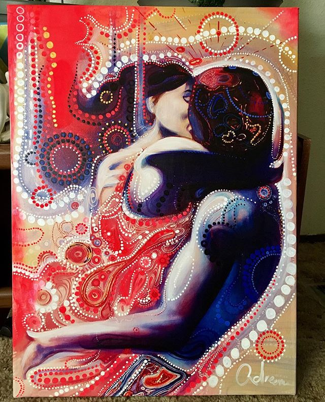 I only painted (3) artworks, this one is headed to Pasco. The other one is heading to Olympia in November.  I'm keeping the first one I painted. (to remind me of the journey.) #Artlife . . . . . #love #romance #allure #color #red #justdoit #seattle #art #painter #beastmode #kiss #her #dream #passion #sacredgeometry #artist #inked #tattoo #beautiful #wynwood #designer #montanablack #lasvegas #repost #loveyourself #cartier