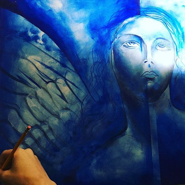Very very old artwork. At the beginning of my explorations in paint using a small sponge dabbing the surface with blue pigment. #divine . . . . . #angels #artflow #painter #artist #art #seattle #beastmode #love #flow #creativity #throwback #theforce #beautiful #artflow #faith #divinity #muse #model #wynwood #artbaselmiami
