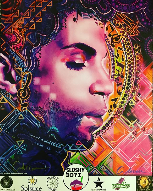 "Come and get the NEW Purple Rain PRINT hand signed by your very own @adream3000 ""Free"" while supplies last At: Seattle's Pipe Master collaboration (@7 point Studios, Oct 29 1pm- 11am) . . . . . #pipemaster #Sevenpointstudios #Seattle #Artist #painter #love #whendovescry #purplerain #prince #inspired #peace #purple #music #passion #cool #greatest #MiamiartBasel #wynwood #graffiti #beauty #doitforlove #solsticegrown #halloween #dream"