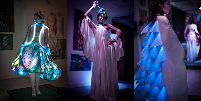 Left to right: 'Rhapsody in Blue' by Nick Wishart; 'Maschinenmensch' by Jade Boyd; and 'Prismatic' by Nelia Justo
