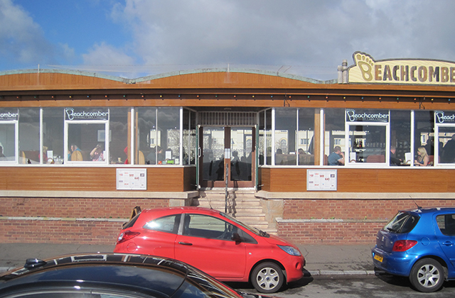 Seafront cafe retaining its original windows and doors
