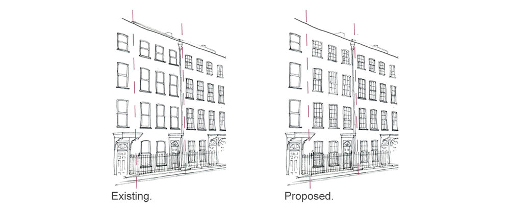 Prewett Bizley Architects - Lincolns Inn Town House -  Existing & Proposed - 1500.jpg