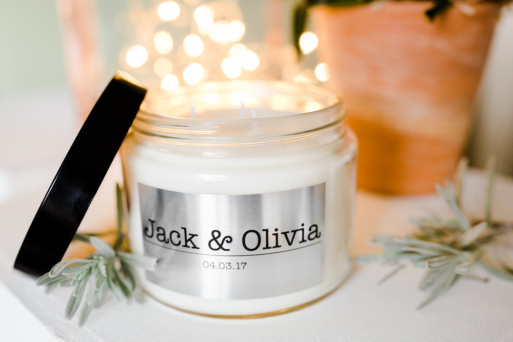 Our personalised 'Jack and Olivia' soy wax wedding candles