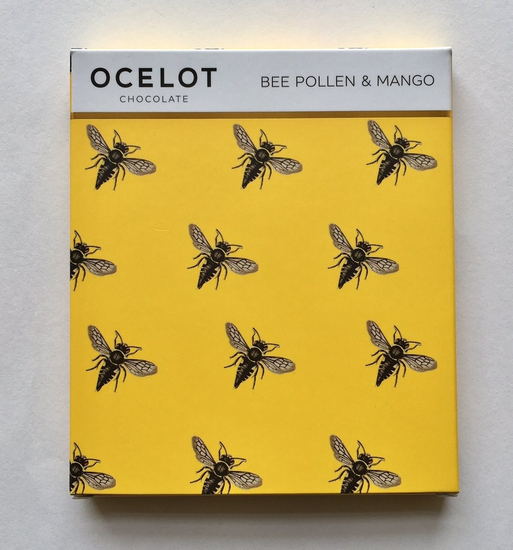 Bee Pollen and Mango, one of Ocelot's fruitiest Chocolate Bars