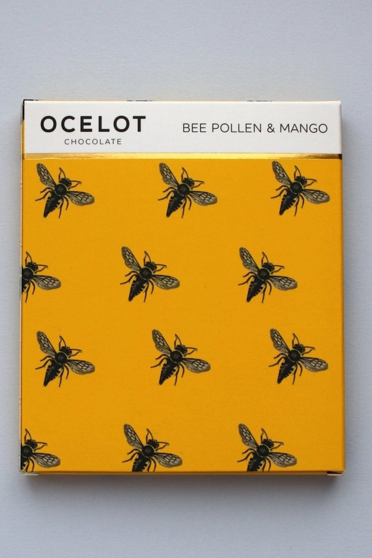 Ocelot's delicious bee pollen and mango chocolate bar made in Leith