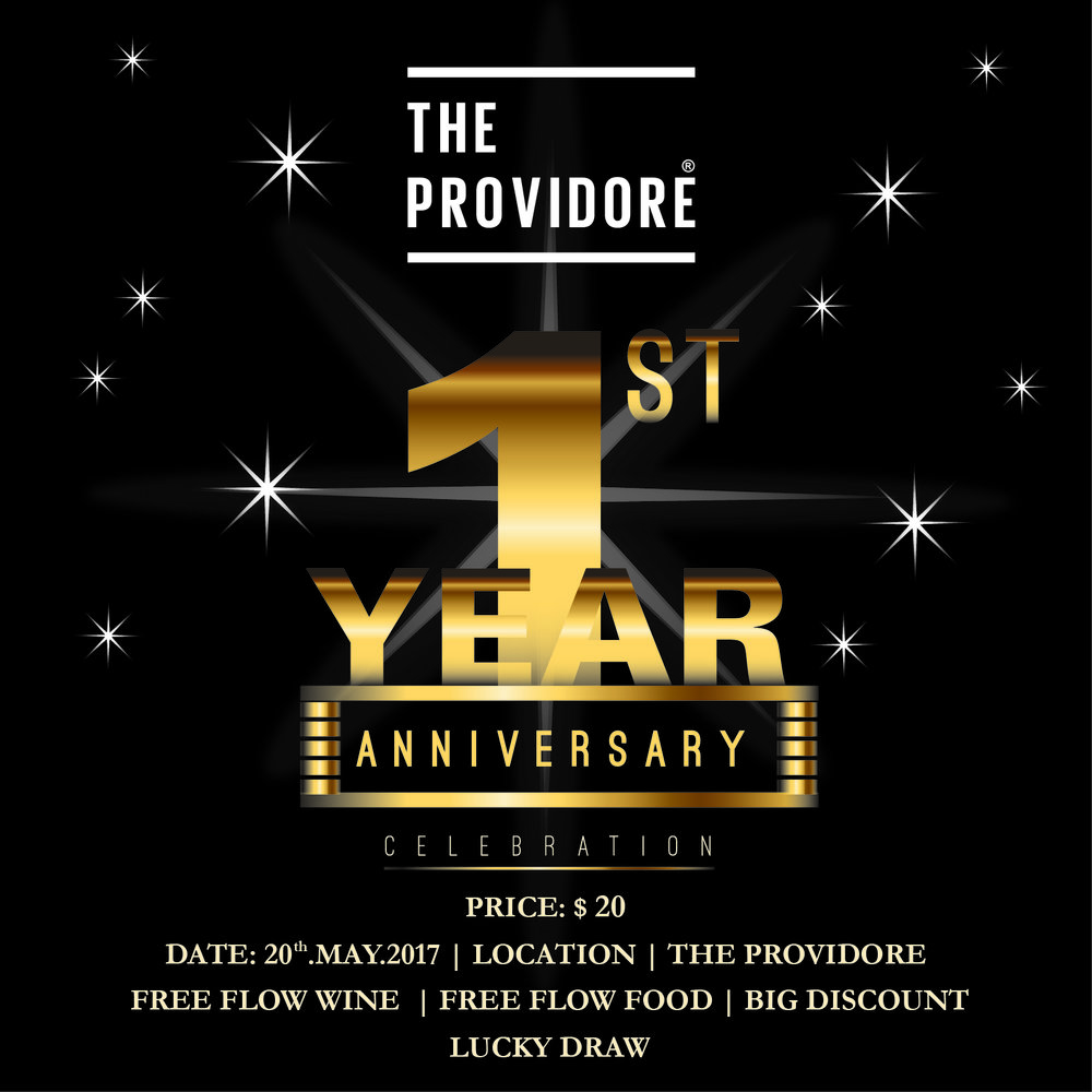 Join our One Year Anniversary at The Providore for an evening of #Free #Flow #Wines and get #Special #Discount for all product, May 20th 2017 | 18:00 - 20:30 THE PROVIDORE CAFE, 67 SOTHEAROS BLVD, PHNOM PENH. Call 095 907 879 or info@theprovidorecambodia for bookings