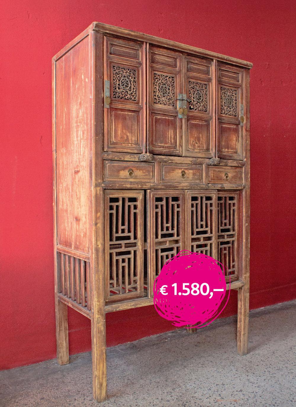 Antiker KÜCHENSCHRANK aus der Provinz Zhejiang in Südchina. in dem unteren Fach wurden Dinge gelagert, die eine gute Durchlüftung brauchten. Maße: 106 x 55 x 180 cm