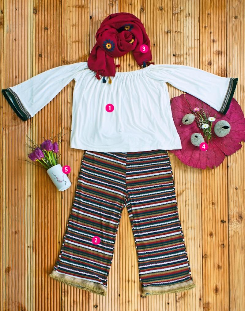 """1) SHIRT mit U-Boot Ausschnitt, Ärmeln mit gestickter Bordüre und Fransen, Viskose und Elasthan € 27,-- 2) RINGELHOSE mit Fransen € 29,-- 3) SCHALTUCH mit Flower-Stickerei und Fransen, Viskose € 19,-- 4) VASEN aus Thailand """"Pebble"""", Keramik € 6,--/7,50/9,-- 5) BECHER, Stifthalter oder hübsche Vase """"Kirschblüte"""" € 16,--"""
