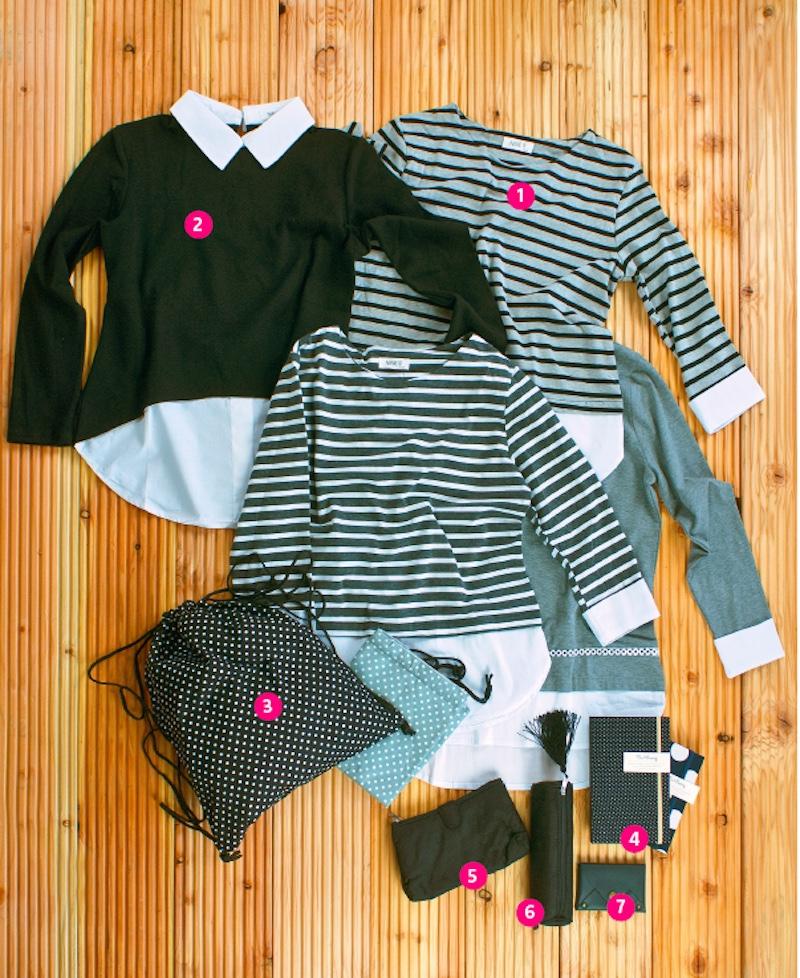 1) SHIRTS mit originellen Details wie Hemd-Ärmelbund und Lagenlook, geringelt oder einfarbig € 29,-- 2) OBERTEIL mit Hemdkragen aus Sweatshirtstoff in schwarz, grau oder dunkelblau € 39,-- 3) SPORTBEUTEL/ RUCKSACK aus Baumwollstoff, viele Designs und Farben € 12,-- 4) NOTIZBUCH blanko mit Baumwolleinband, handgefertigt € 8,--/ 6,-- 5) KOSMETIKTASCHE mit Spiegel, 2 Fächer € 13,-- 6) STIFTEMÄPPCHEN aus Vietnam Silk mit Troddel € 7,-- 7) Kleiner LEDERGELDBEUTEL € 12,--