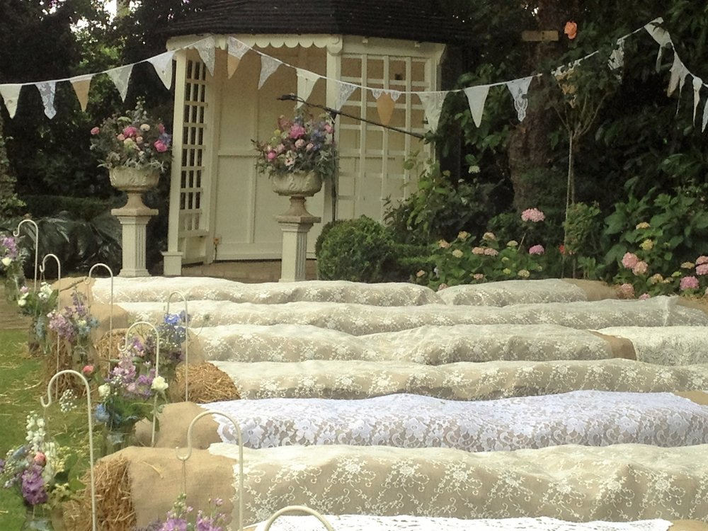 Wedding inspiration - lace and hessian haybale covers and bunting.JPG