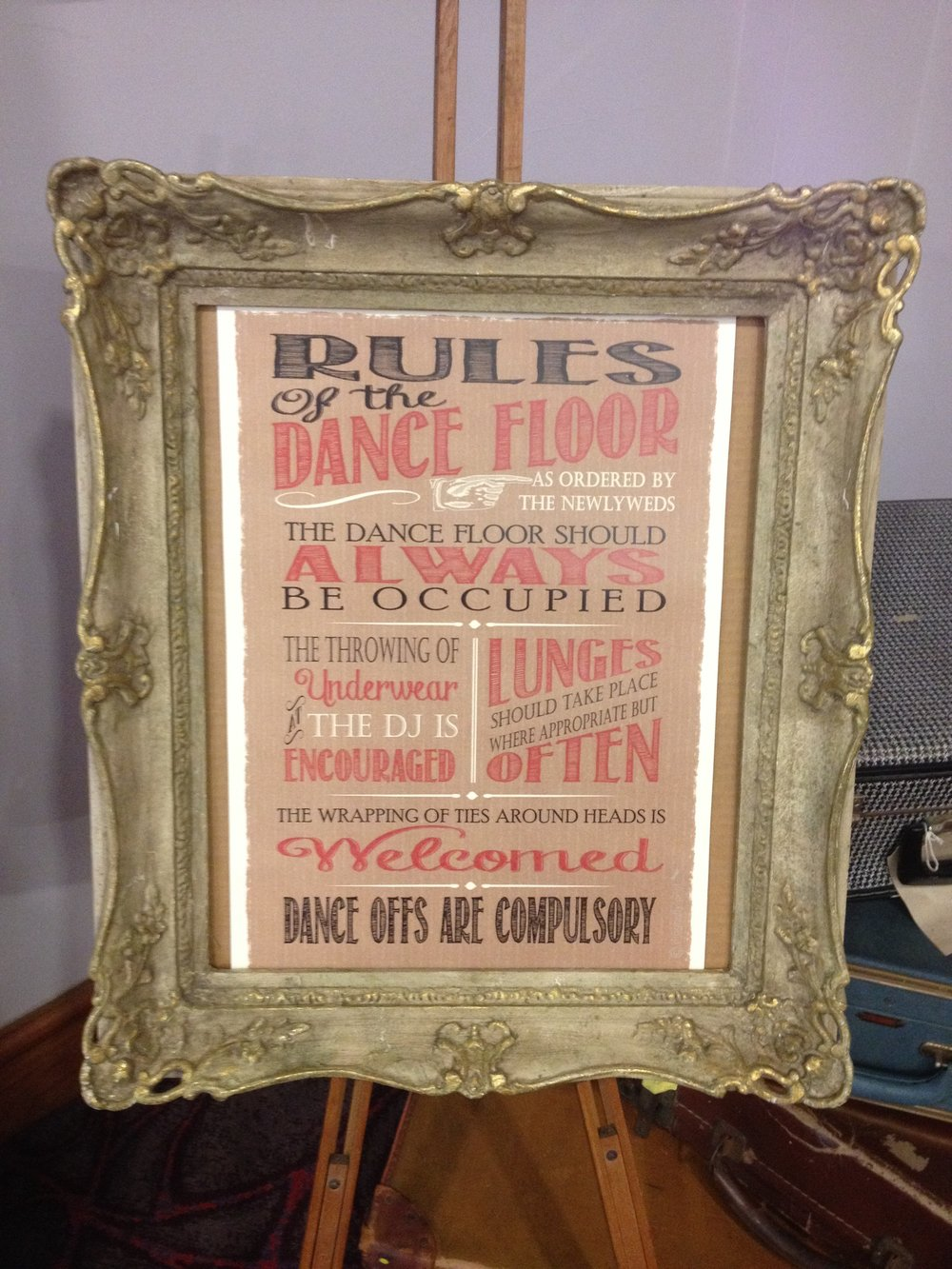 sign - rules of the dance floor, framed on an easel.JPG