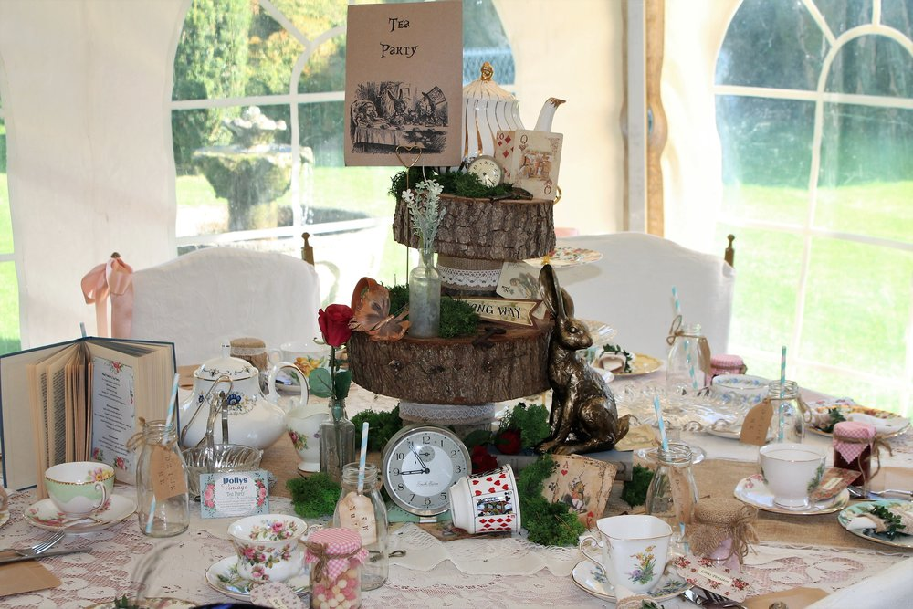 Mad hatters tea party decor hire