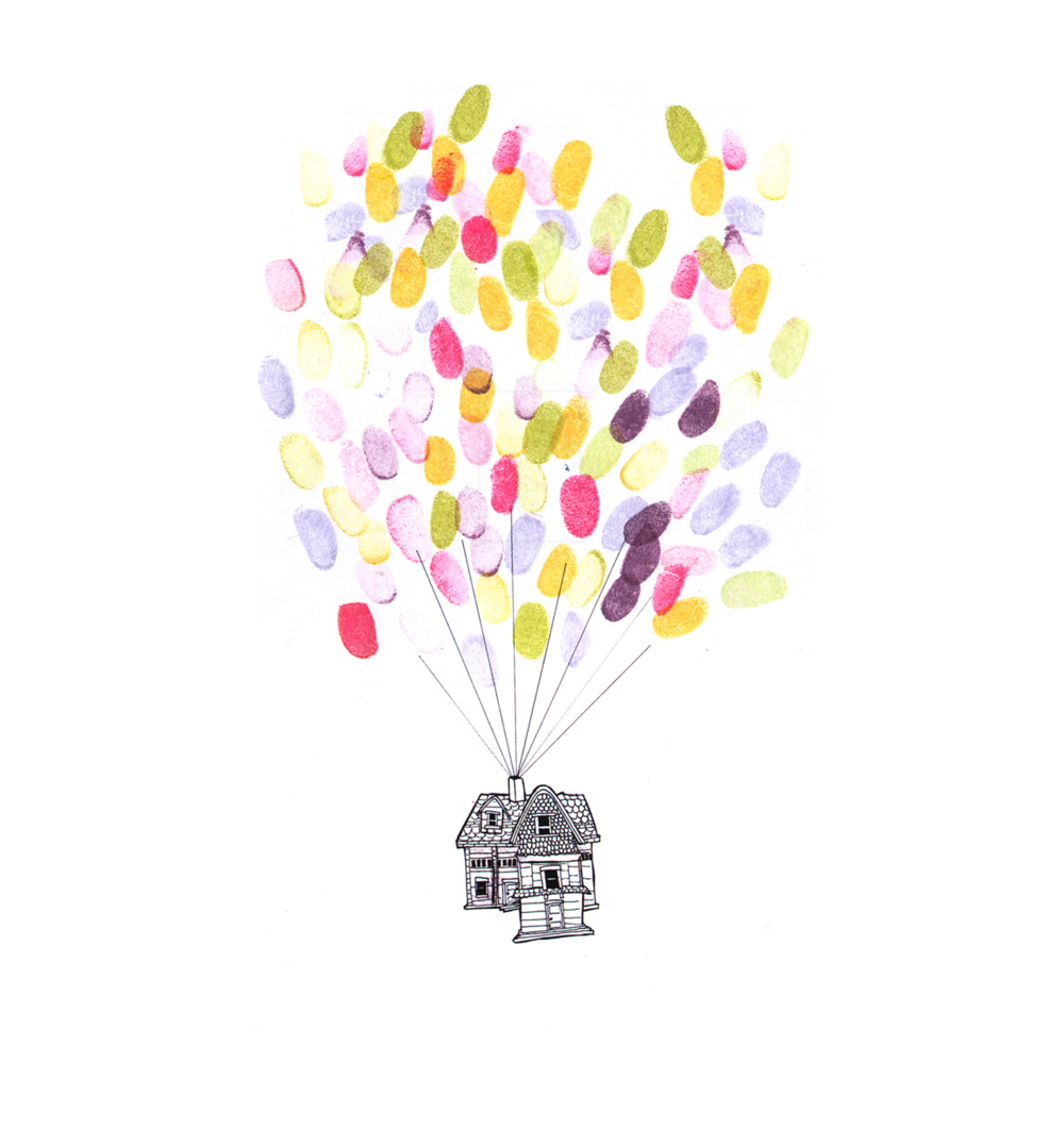 Up House Balloons Personalised Thumbprint House And Balloons Illustration Lily Blue