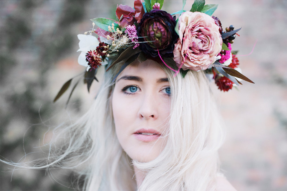 The Sleeping Flower Company Look Book Dried flower crown model