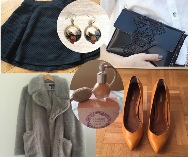 Jupe  -  Boucles d'oreille  -  Clutch -  Escarpins  -  Parfum  -  Faux fur