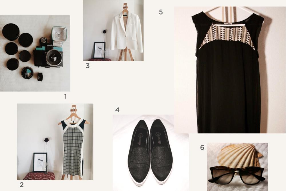 1. appareil photo vintage  🔸 2. robe blanche et noire  🔸 3. blazer blanc  🔸 4. chaussures compensées  🔸 5. robe noire  🔸 6. lunettes Rayban