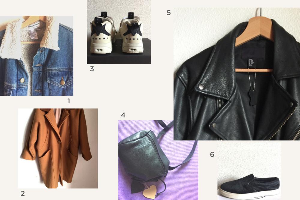 1. veste en jeans  🔸 2. manteau American apparel  🔸 3. baskets Marni pour Reebok  🔸 4. sac en cuir  🔸 5. veste en cuir  🔸 6. slippers Steve Madden