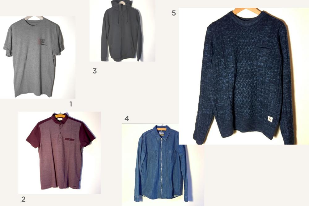 1. t-shirt Vans  🔸 2. polo River Island  🔸 3. pull Nike  🔸 4. chemise en jeans  🔸 5. pull bleu