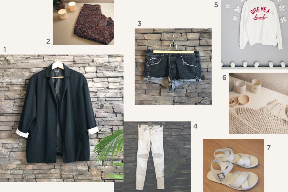 1. blazer noir  🔸 2. jupe crayon  🔸 3. Short en jeans noir délavé 🔸 4. jeans slim gris  🔸 5. gilet style bomber blanc  🔸 6. pull croptop beige  🔸 7. Sandale Only blanche