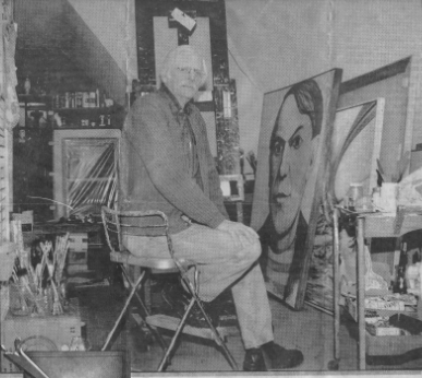 A photo of Michaelsen in his studio, with a painting he did somewhat as a caricature of Picasso.