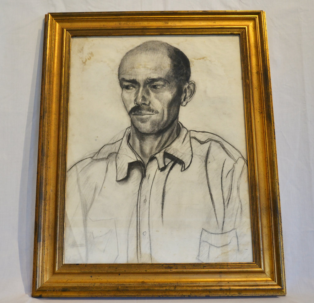 Portrait of Man in Gilt Frame by Nan Mason