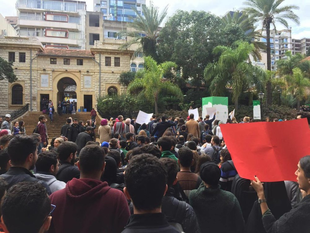 AUB students protest against the revocation of graduate assistantship stipends and termination of at least 11 scholarships. (November 21, 2017/Anonymous)