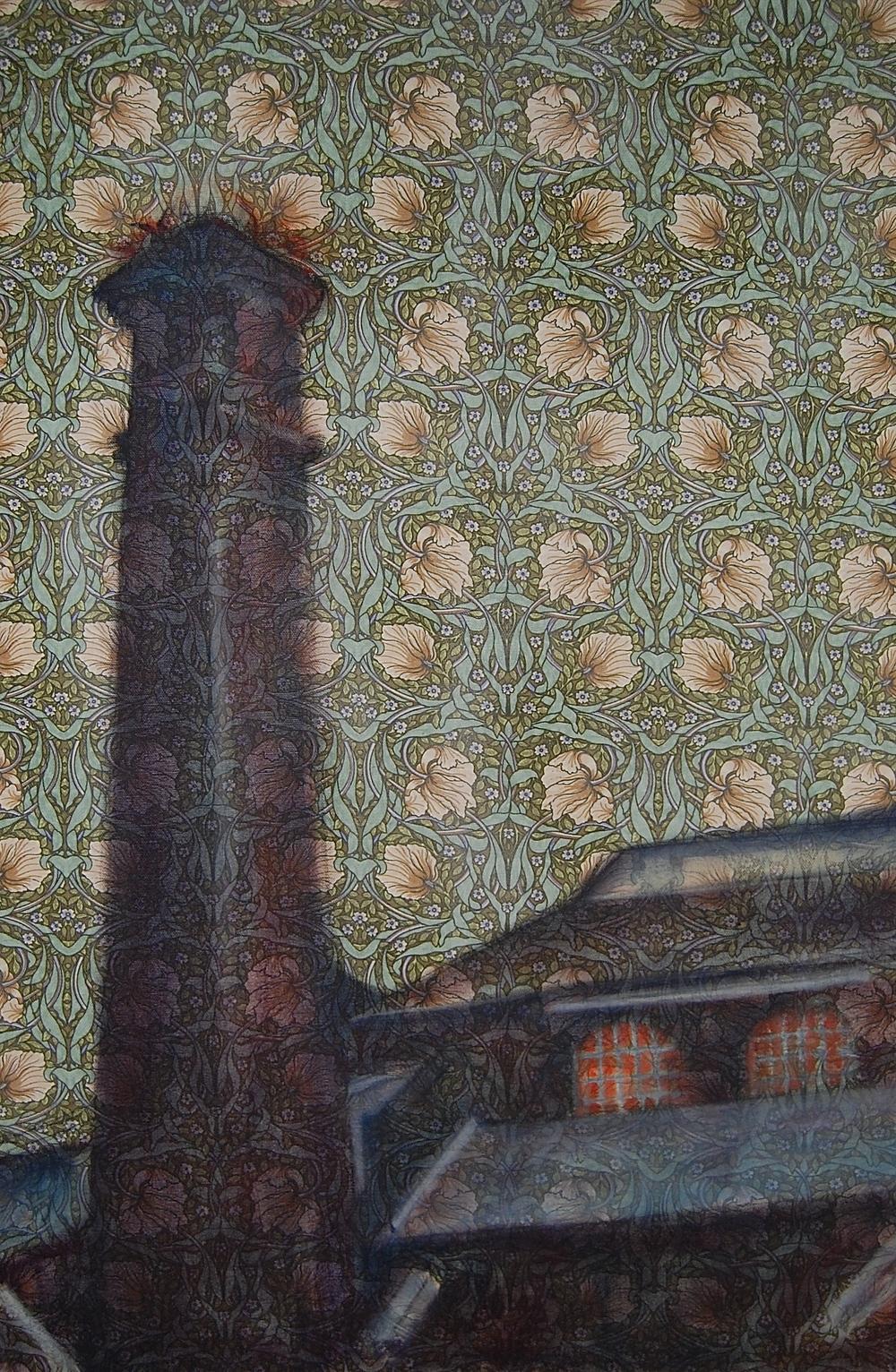 CHIMNEY II: oil on William Morris furniture fabric (50 x 75cm) 2015