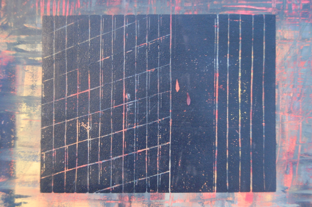 FALL: Lino-cut print and acrylic on paper 2014