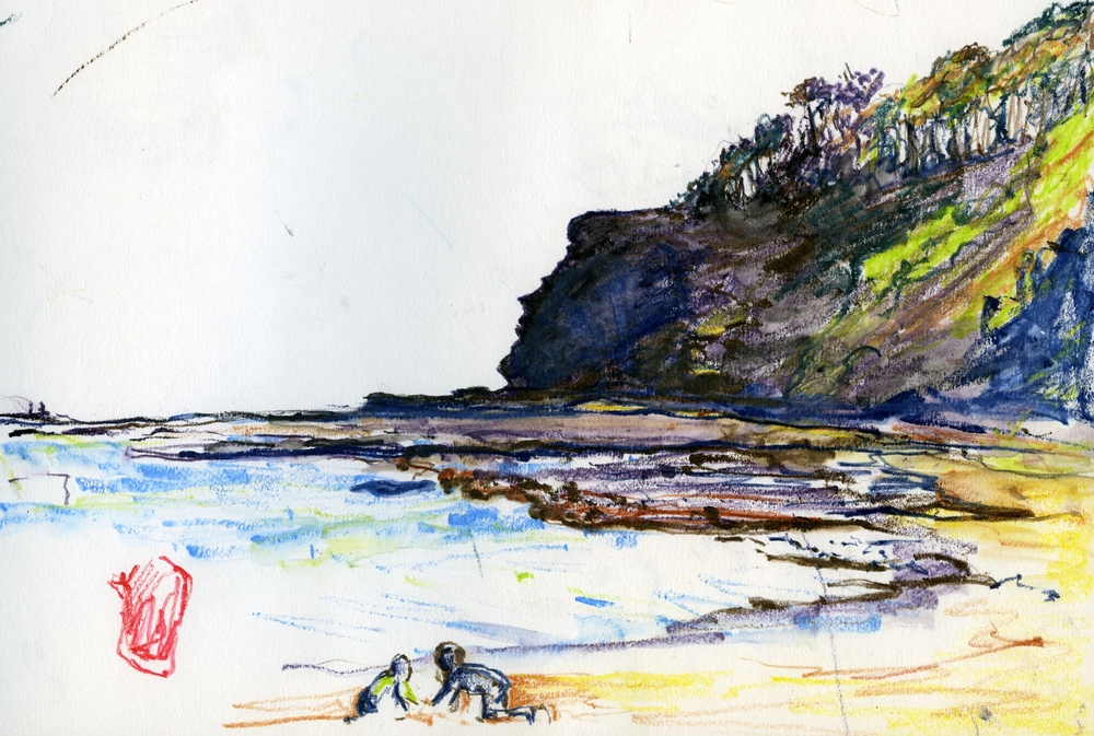 DEPOT BEACH (pm), NSW: coloured pencil on paper