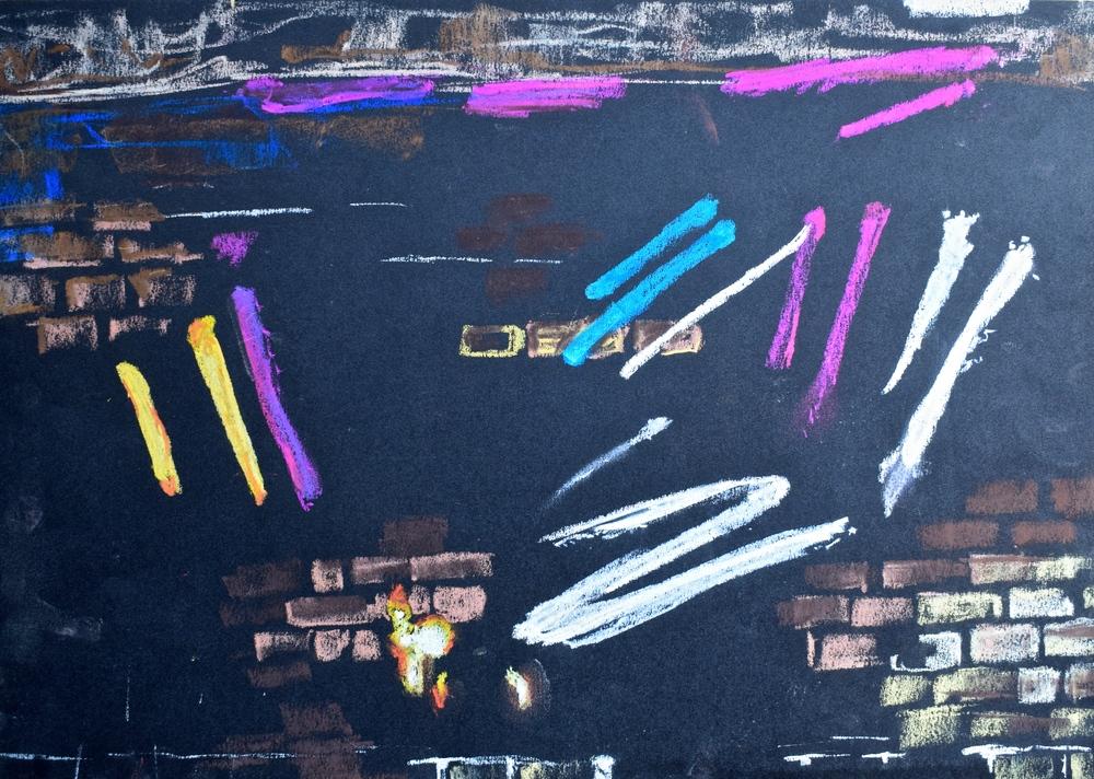 GRAFFITI: pastel on paper