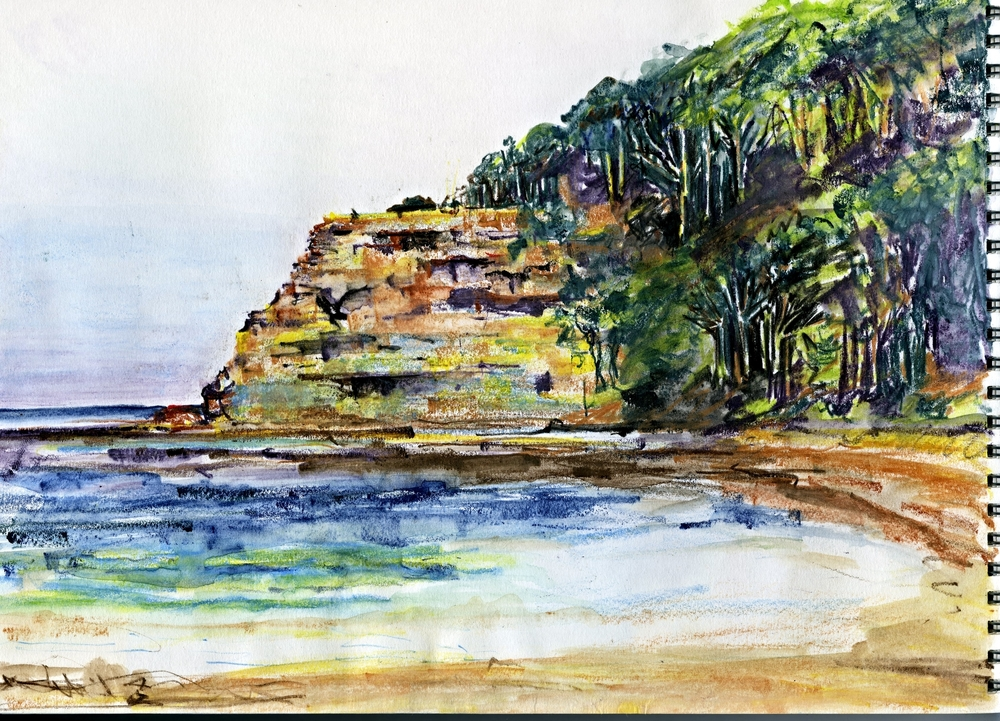 DEPOT BEACH, NSW: coloured pencil on paper
