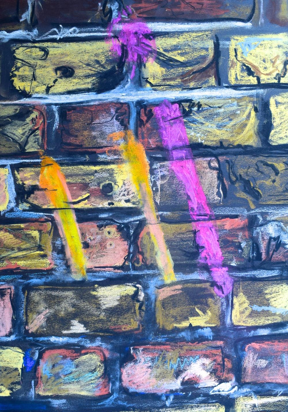 CHURCHYARD GRAFFITI: pastel on paper