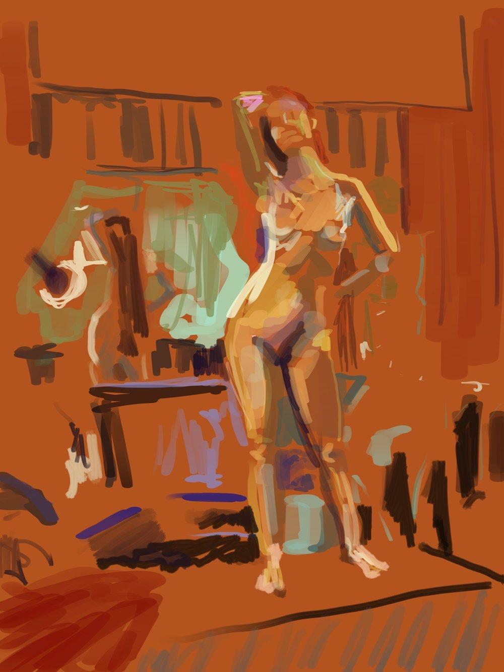 Standing Nude: iPad drawing 2017