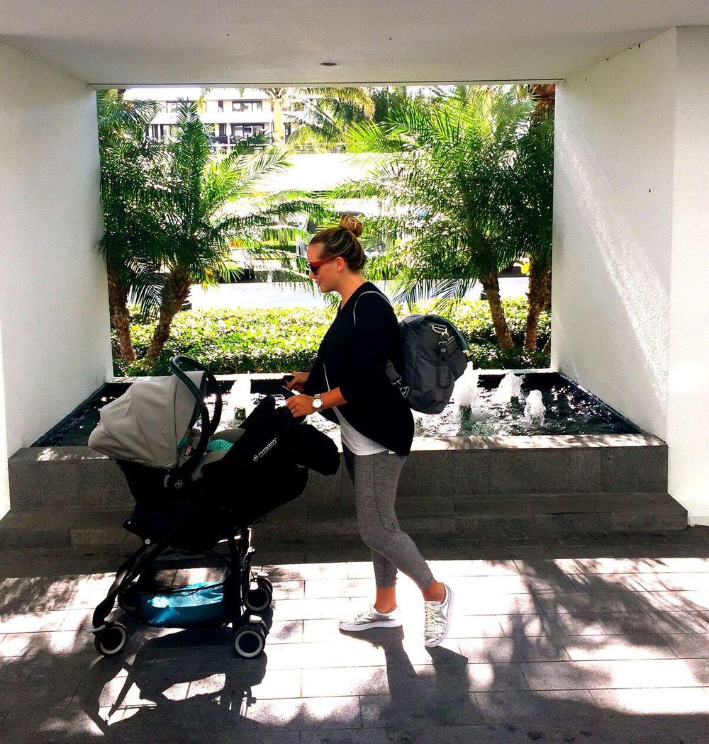 Mom, Baby & Stroller. Traveling