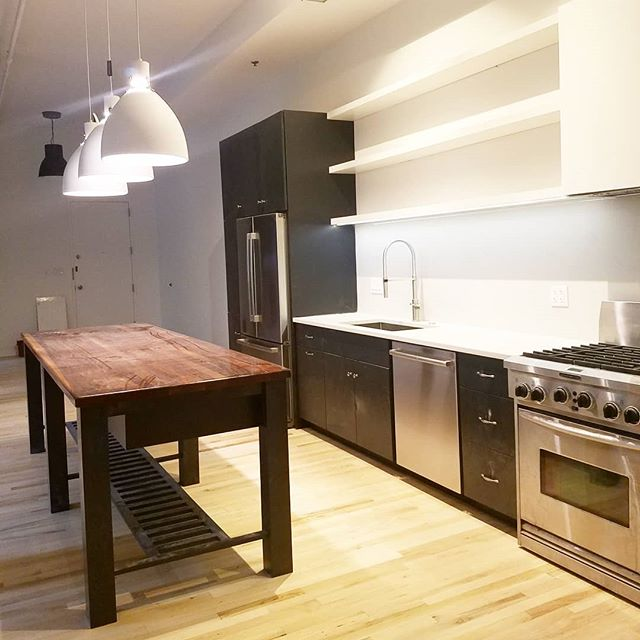 Wrapping up a loft renovation in Bucktown! Loving the simple, color blocked kitchen and the bleached floors that brighten this north facing loft!  #loftstyle #renovationproject #chicagoarchitecture