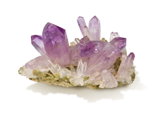 Amethyst  - I use amethyst a lot in my line because it's my birthstone. I'm an aquarius, born in February. Amethyst promotes calm, balance and peace. It's a type of quartz found throughout the world.