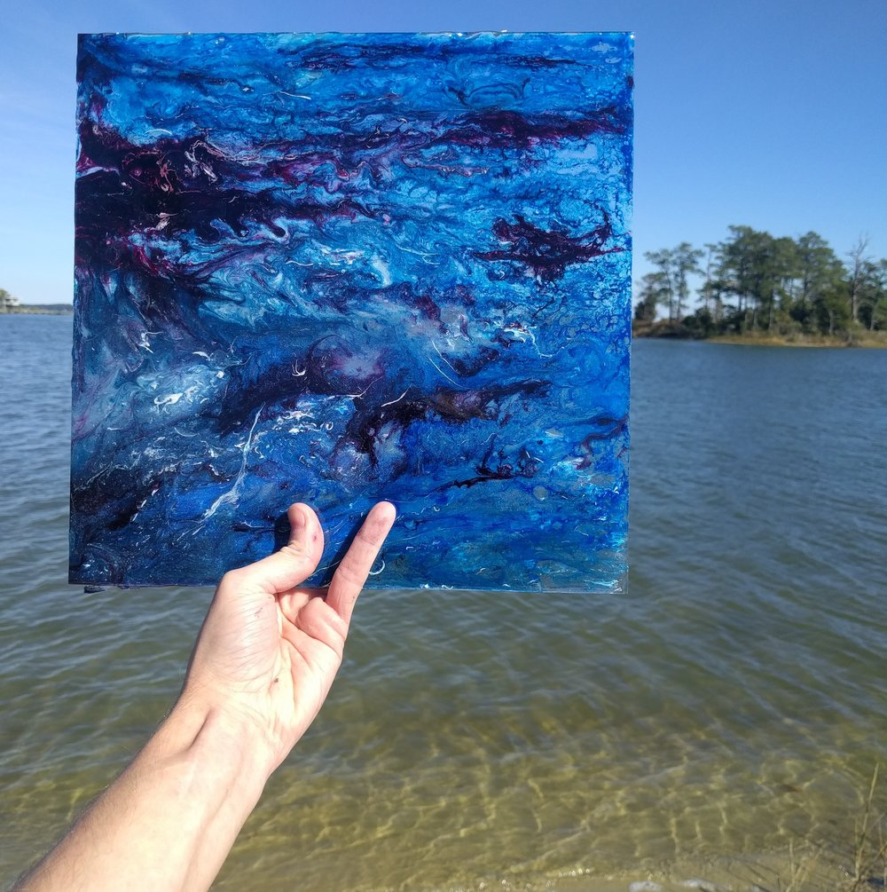 blue resin painting on glass