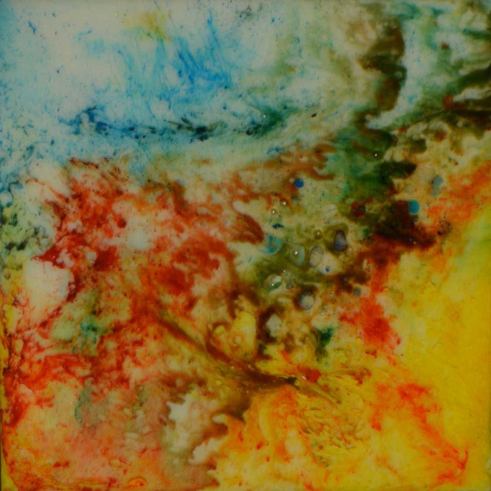 Abstract resin expoxy layered painting