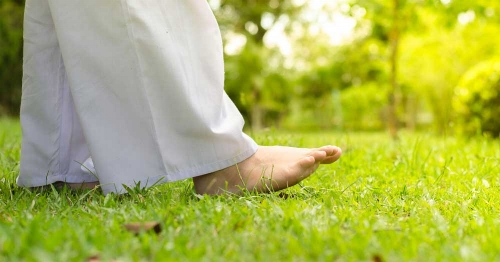 Walking meditation with bare feet in soft grass is a wonderful way to focus our minds on the sensation of each footstep.