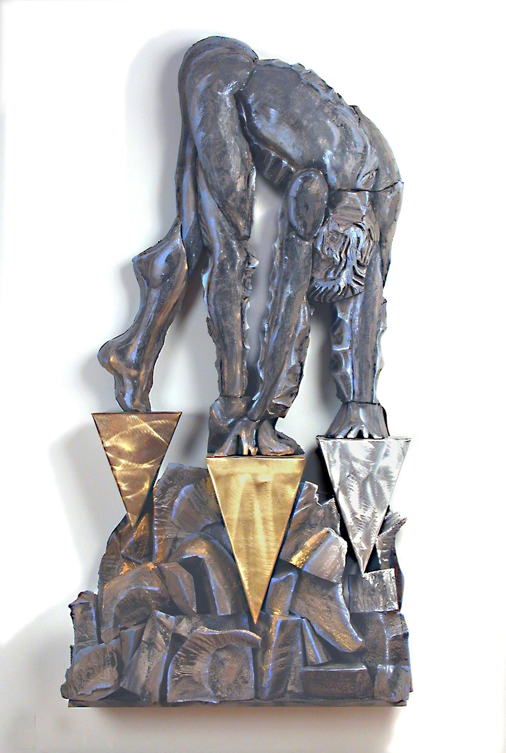 80 x 40 x 10 Inches    Oil on Canvas Over Sculpted Foam and Metals    2003