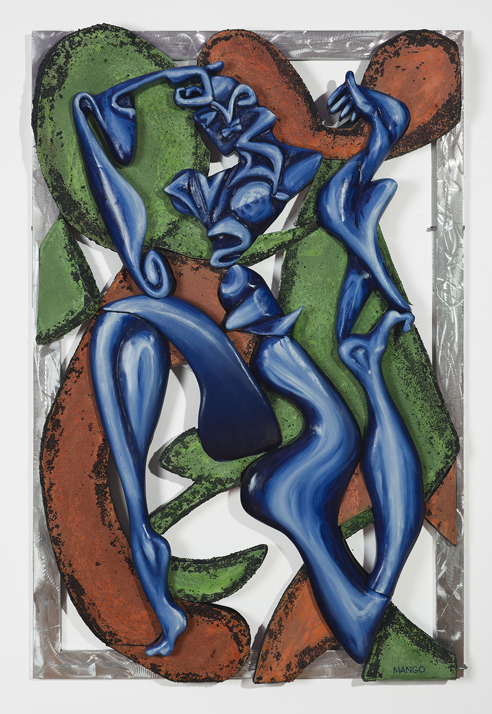 2012  72 X 48 X 4 Inches  Background: Oil on canvas over sculpted  Figure: Oil on sculpted foam  Frame: Polished, welded aluminum