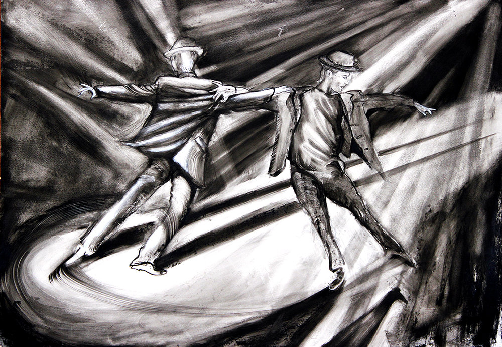 Artist: Rob Mango Media: Black oil paint on Fabriano, gesso coated, 300lb. rag paper Size: 105 X 75 cm (29 5/8 X 41 3/8 Inches) Subject : Sergiy and Oleksandr Kirichenko, Tango Choreography Date: Painted in New York, October 6 - December 30, 2016